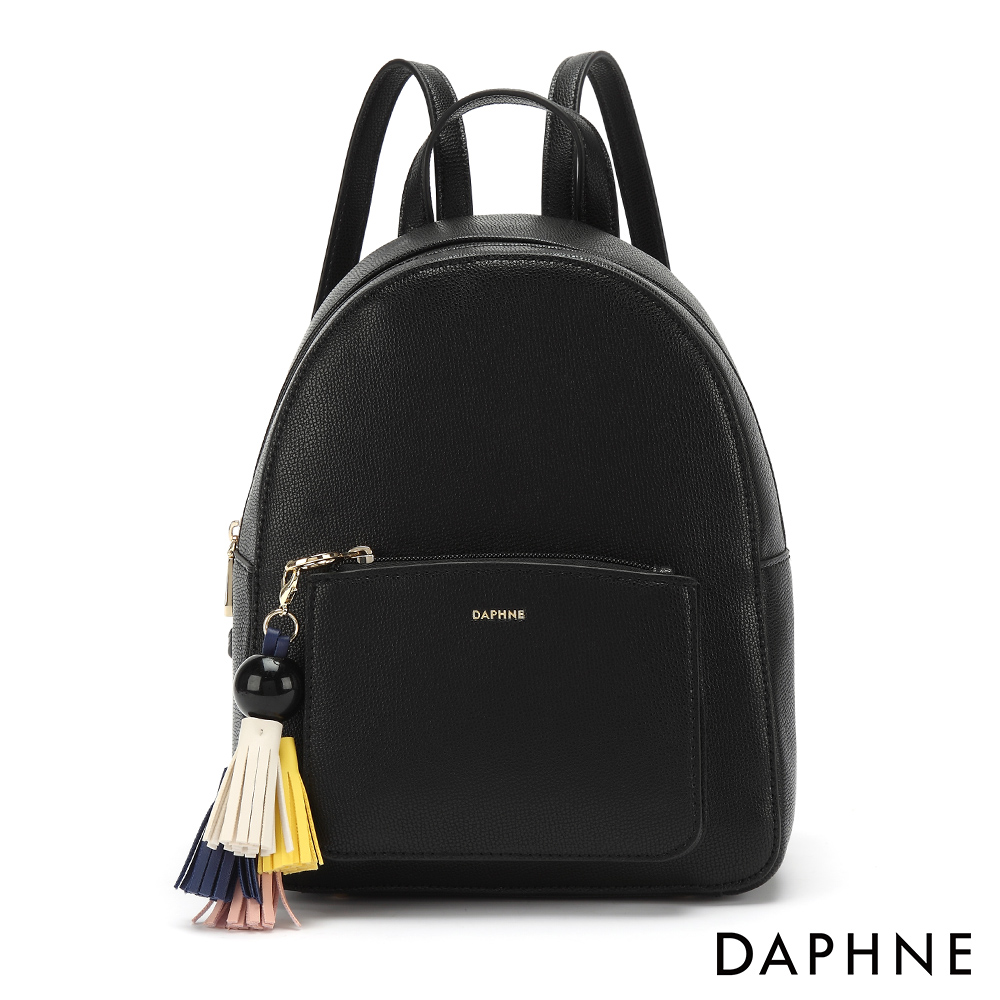 達芙妮DAPHNE-繽紛色彩流蘇休閒後背包-黑色