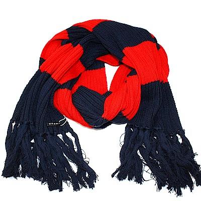 agnes b.時尚粗橫條撞色 針織保暖長圍巾(紅+藍黑)