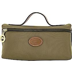 LONGCHAMP Le Pliage 牛皮LOGO帆布手提化妝包(橄欖綠)