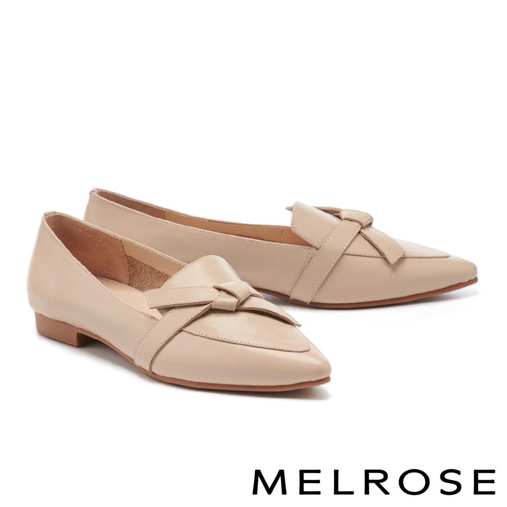 低跟鞋 MELROSE 極簡時尚綁結全真皮尖頭樂福低跟鞋-米