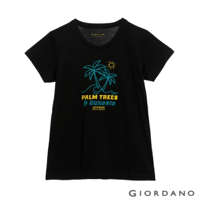 GIORDANO  女裝夏日陽光印花T恤 - 21 標誌黑