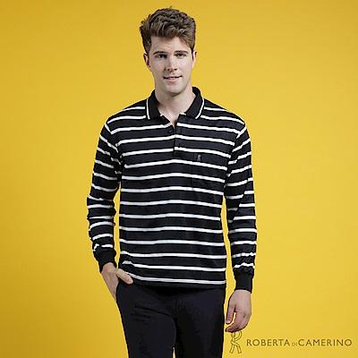ROBERTA諾貝達 台灣製 型男必備 時尚百搭條紋長袖POLO棉衫 黑白