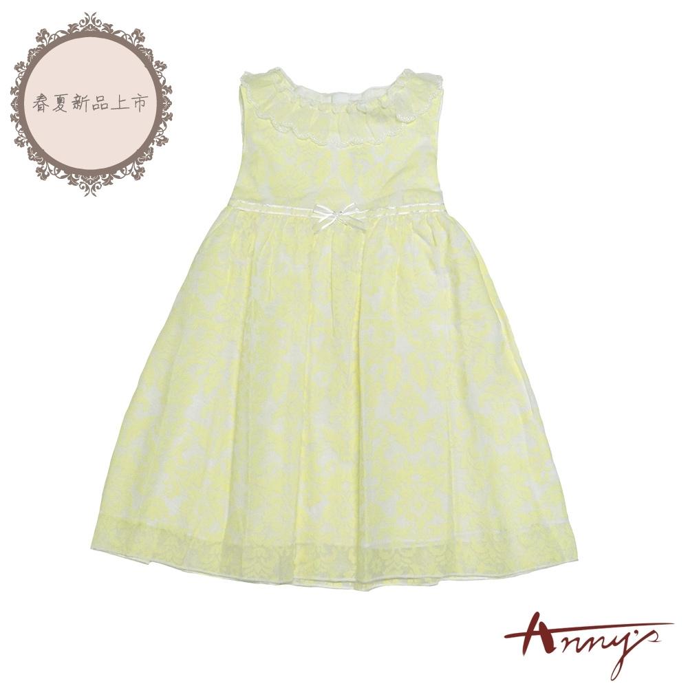 Annys安妮公主-黃色檸檬樹-蕾絲領小蝴蝶結精緻花草暗紋背心洋裝*8528黃