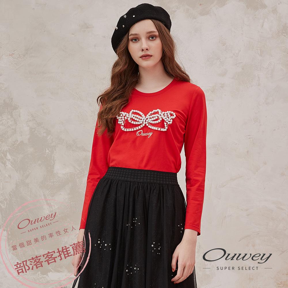 OUWEY歐薇 蝴蝶結釘珠造型短版上衣(紅)