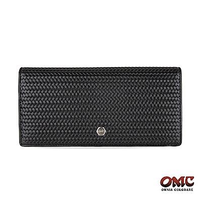 OMC 牛皮壓紋二折式12卡雙透明窗零錢長夾-黑色