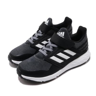 adidas 慢跑鞋 FortaFaito EL 童鞋 愛迪達 三葉草 魔鬼氈 運動休閒 中童 黑 白 EE7309