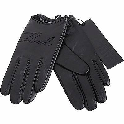 KARL LAGERFELD K/SIGNATURE 浮雕簽名羊皮手套(黑色)