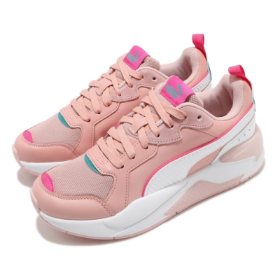 Puma 休閒鞋 X-Ray Game 復古 女鞋 老爹鞋 厚底 麂皮 球鞋穿搭 粉 白 37284907