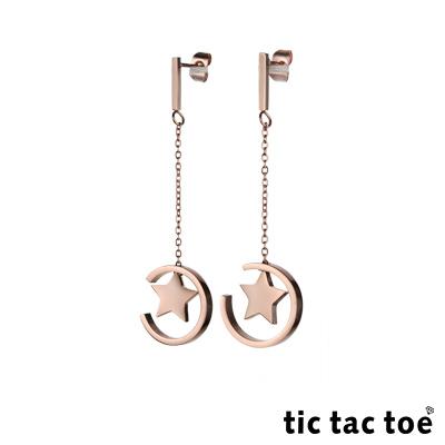 tic tac toe 垂吊式白鋼耳環系列-星環