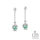 City Diamond引雅【東京Yuki系列】18K日本祖母綠鏤空雕花熱氣球耳環