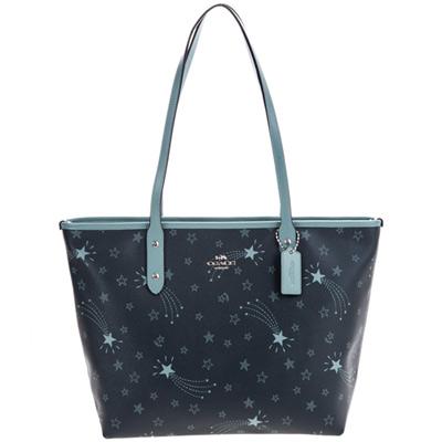 COACH午夜藍流星圖印真皮飾邊肩背托特包