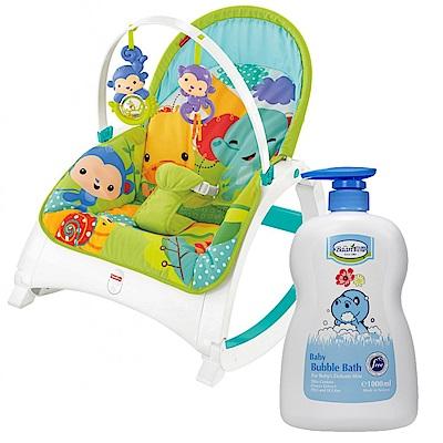 費雪牌 可攜式兩用震動安撫躺椅+貝恩Baan 嬰兒泡泡香浴露/1000ml