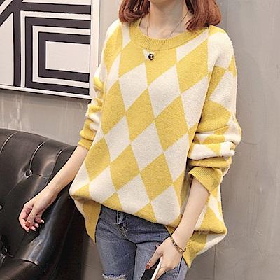 菱形造型針織毛衣-共4色(F可選)    NUMI 森