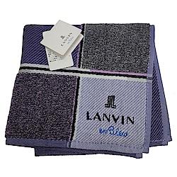 LANVIN en bleu 方格品牌LOGO刺繡小方巾(紫色系)