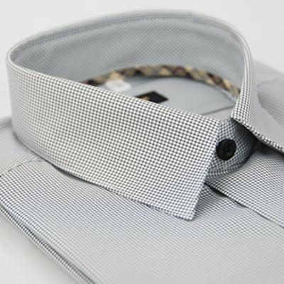 金‧安德森 經典格紋繞領白底黑細格吸排短袖襯衫fast