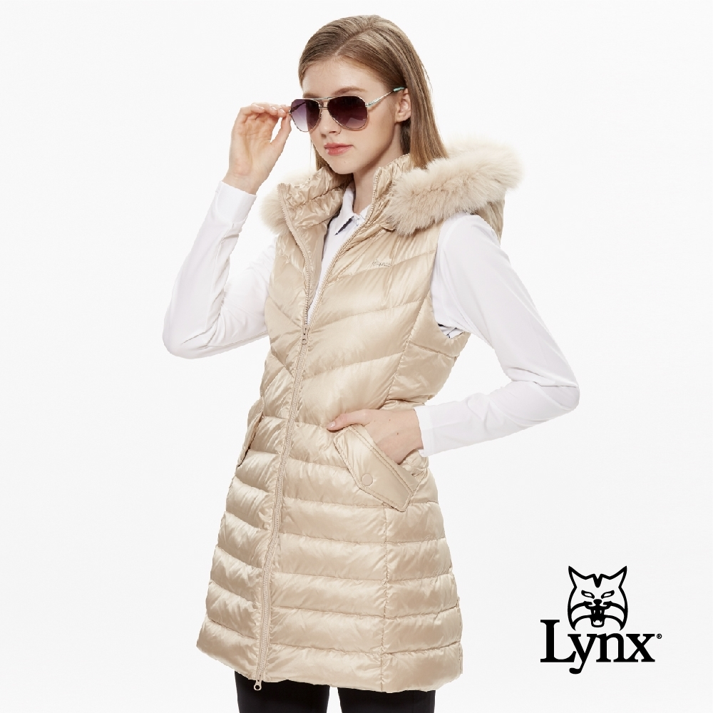 【Lynx Golf】女款可拆式毛條長版修身羽絨無袖背心-淺卡其色
