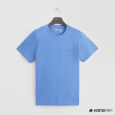 Hang Ten-有機棉-男裝全棉小LOGO素面圓領T-藍