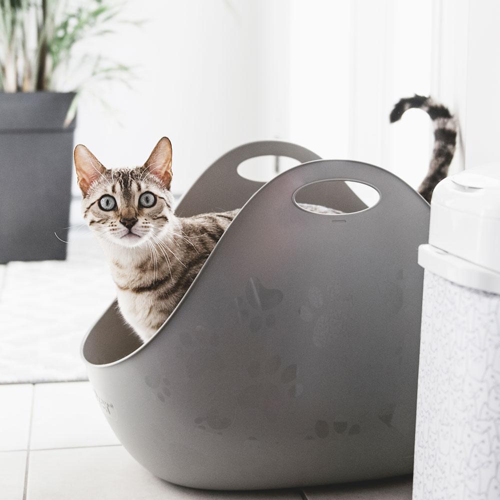 【LitterBox】360°主子貓砂籃/高邊加大型貓砂盆 - 白色