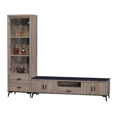 綠活居 菲迪9.1尺黑紋石面組合(電視櫃+展示櫃)-271.6x41x194cm免組