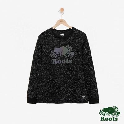 ROOTS 女裝- 反光海狸長袖T恤-黑色