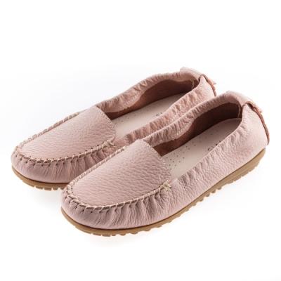 G.Ms. MIT系列-厚實牛皮莫卡辛休閒鞋-淺粉
