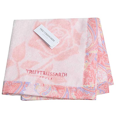 TRUSSARDI 玫瑰圖紋LOGO 棉質小方巾(粉紅色)