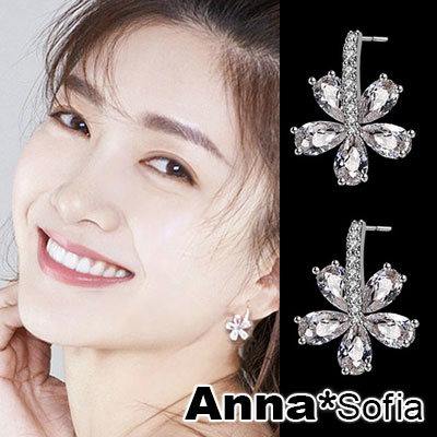 【3件5折】AnnaSofia C圈綻花爍晶 925銀針耳針耳環(銀系)