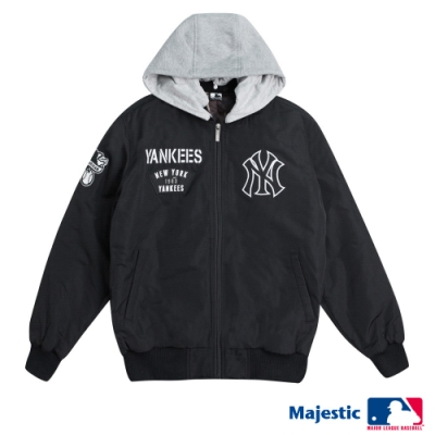 MLB-洋基進擊可拆式連帽外套-黑 (男)