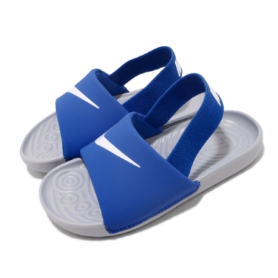 Nike 涼拖鞋 Kawa Slide 套腳 童鞋 輕便 舒適 夏日 大logo 小童 藍 白 BV1094400