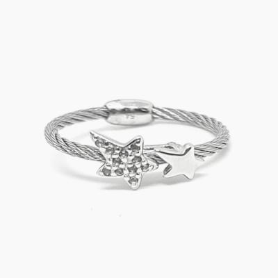 CHARRIOL 夏利豪 經典徹爾斯鋼索托帕石星星戒指