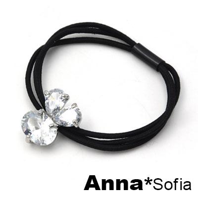 【3件480】AnnaSofia 閃晶耀鋯兔型 純手工彈性髮束髮圈髮繩(銀系)