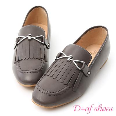 D+AF 學院經典.質感釦飾流蘇樂福鞋*棕