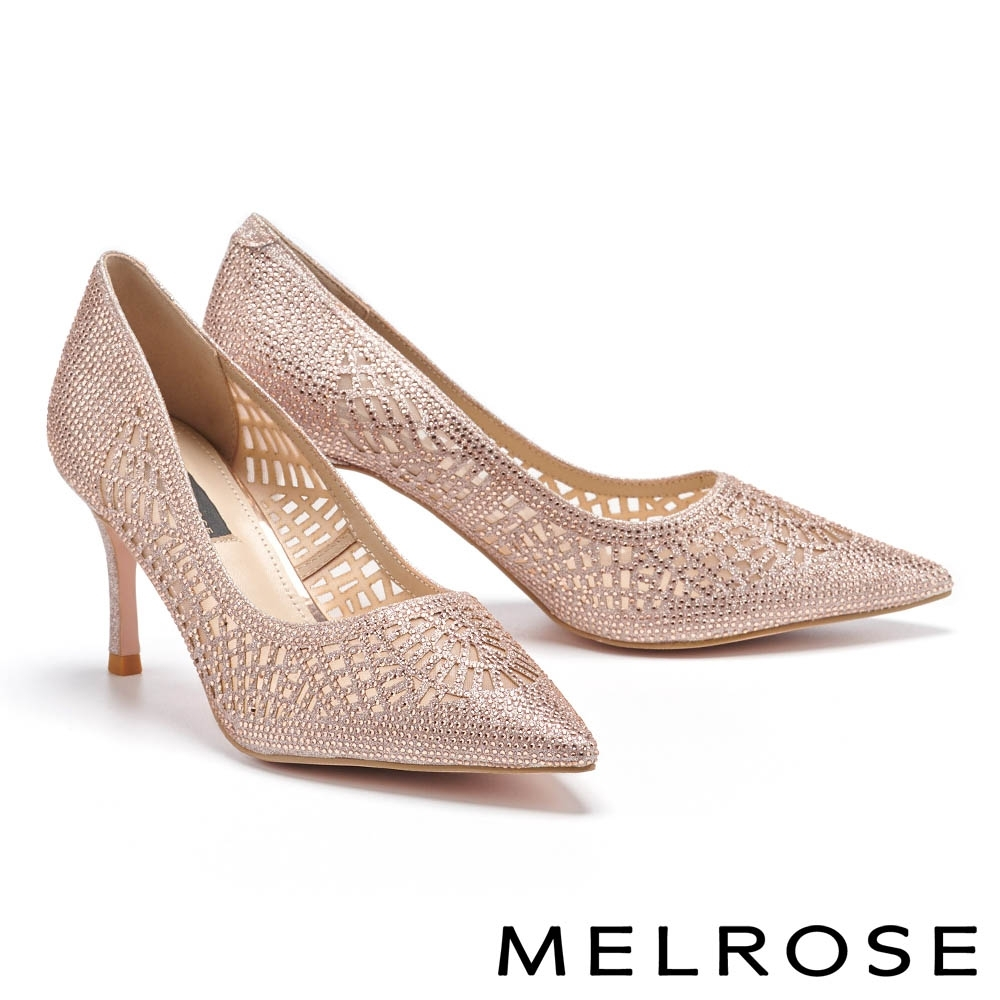 高跟鞋 MELROSE 奢華時尚幾何鏤空透膚水鑽尖頭高跟鞋-粉