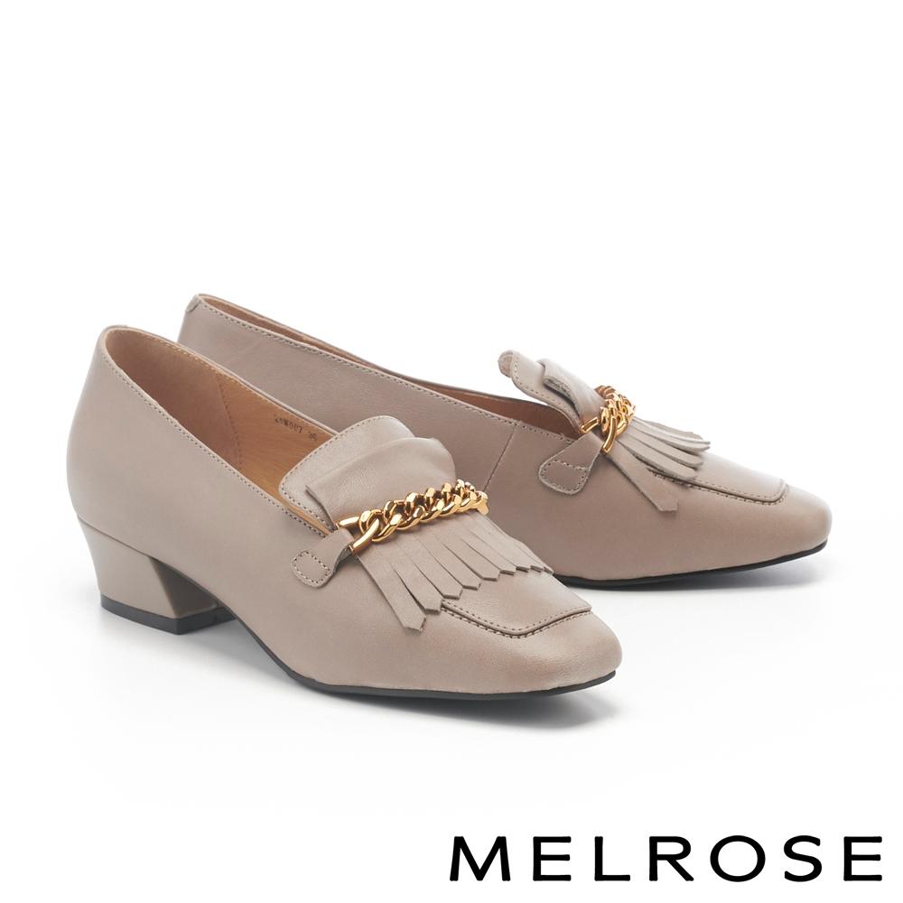 低跟鞋 MELROSE 個性金鏈流蘇全真皮方頭樂福低跟鞋-米