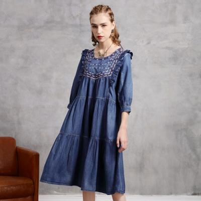民族風刺繡流蘇繫帶寬鬆牛仔洋裝M-XL-維拉森林