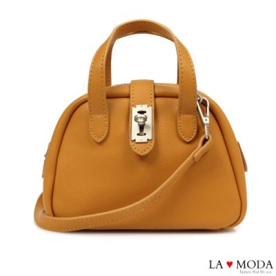 La Moda 小巧CUTIE創意釦飾多背法肩背手提波士頓包(棕)