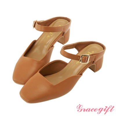 Grace gift X Wei-聯名方頭繫帶後空跟鞋 棕