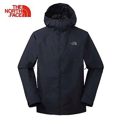 The North Face北面男款黑色防水透氣連帽衝鋒衣|3O87CGW
