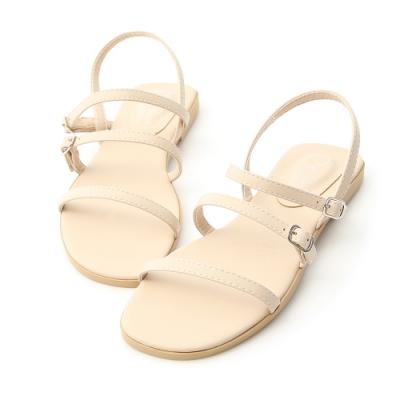 D+AF 簡單個性.三條釦環帶平底涼鞋*米白