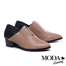 跟鞋 MODA Luxury 極簡內斂拼接設計全真皮高跟鞋-粉膚