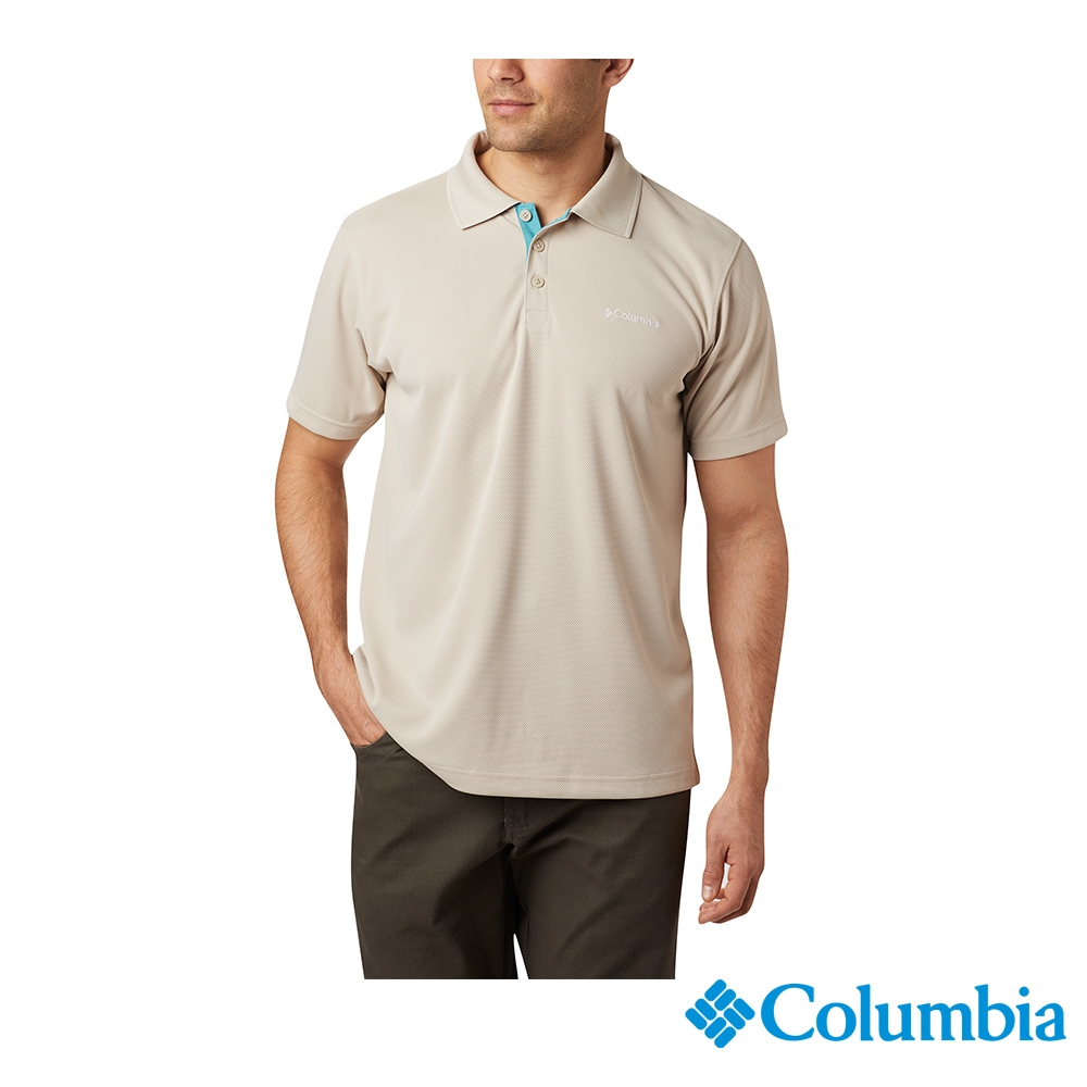 Columbia 哥倫比亞 男款- UPF30快排短袖Polo衫-4色  UAE01260 (卡其)