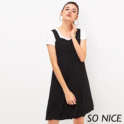 SO NICE簡約造型壓褶雪紡洋裝