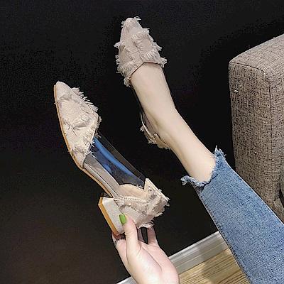 KEITH-WILL時尚鞋館 韓時尚漏泄春光女神款粗跟鞋-米白色