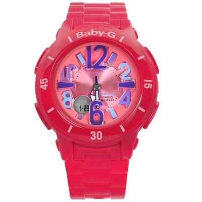 BABY-G 夏日風情 亮彩立體雙顯腕錶(BGA-171-4B1)-桃紅色/40mm