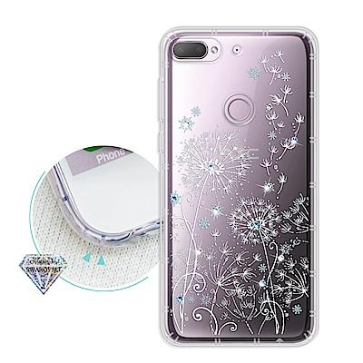HTC Desire 12+/12 Plus 浪漫彩繪 水鑽空壓氣墊手機殼(風信子)