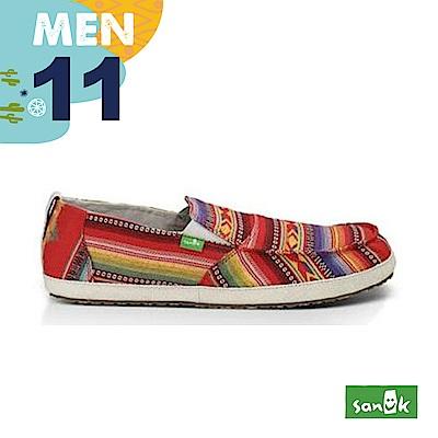 SANUK 男款US11 圖騰條紋窄版休閒鞋(紅色)
