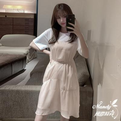 Mandy國際時尚 甜美拼接不規則法式連衣裙  【韓國服飾】