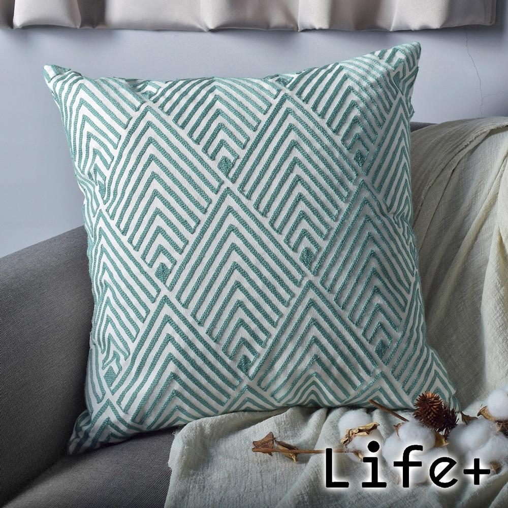 Life Plus 幾何繡花 棉麻舒適方型抱枕.靠枕 (綠菱紋)