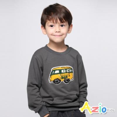 Azio Kids 男童 上衣 黃色巴士刺繡口袋長袖上衣 (灰)
