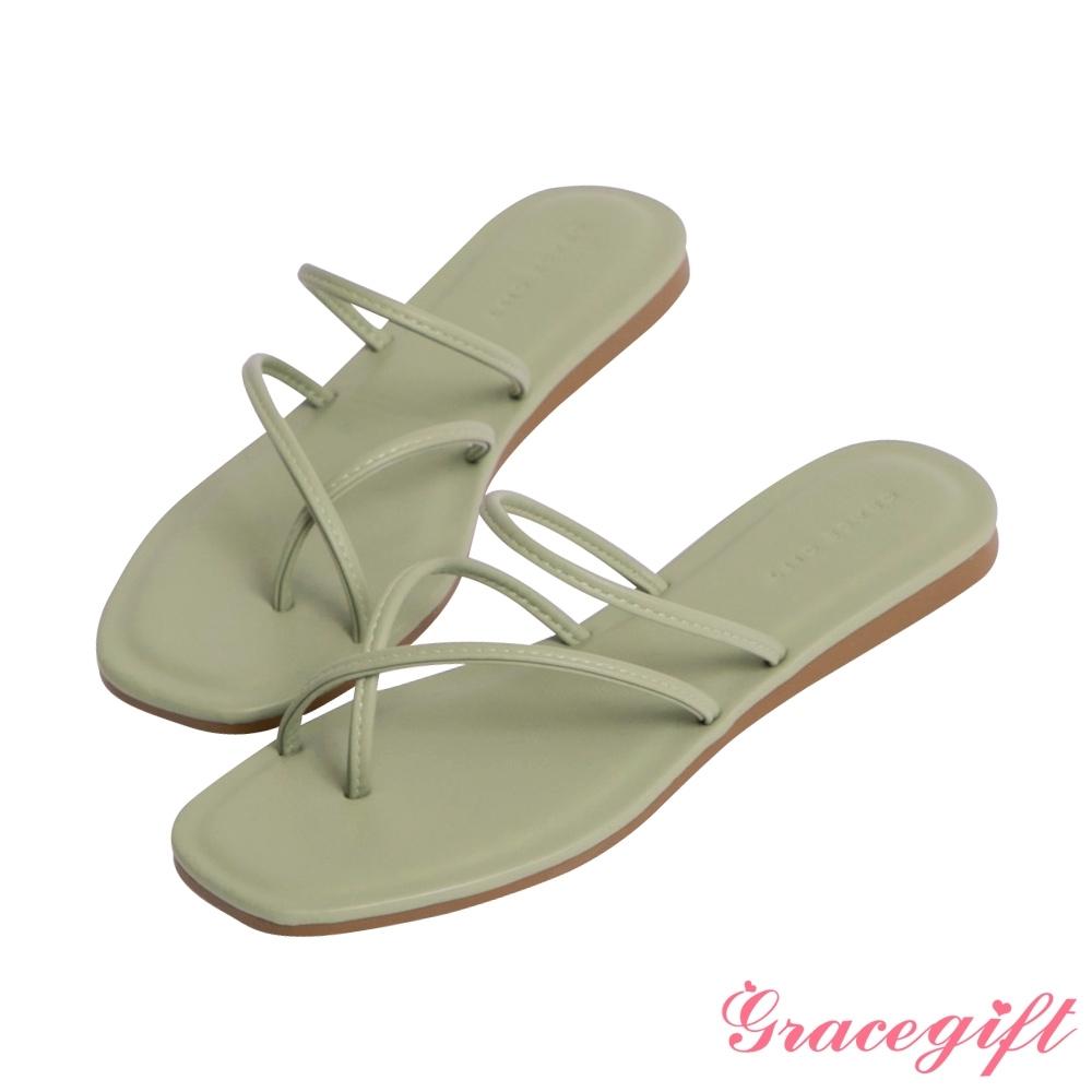 Grace gift-交叉套趾平底涼拖鞋 綠